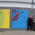 Live schilderen bij IJsbeelden Festival, de expo: vlnr: Leonie van der Brom, Kim Egberts, Dennie Boxem, Rob Klein Ikink