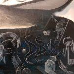 Masterpieces' Prophecies; detail signature between Heronimus Bosch' after the flood underworld